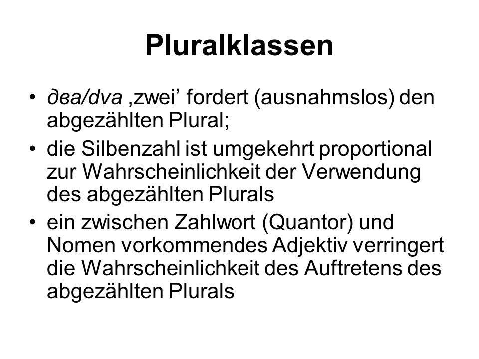 Pluralklassen два/dva ,zwei' fordert (ausnahmslos) den abgezählten Plural;