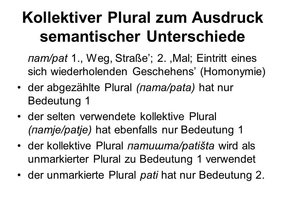 Kollektiver Plural zum Ausdruck semantischer Unterschiede
