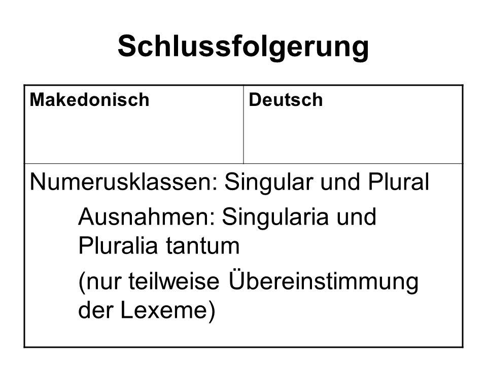 Schlussfolgerung Numerusklassen: Singular und Plural