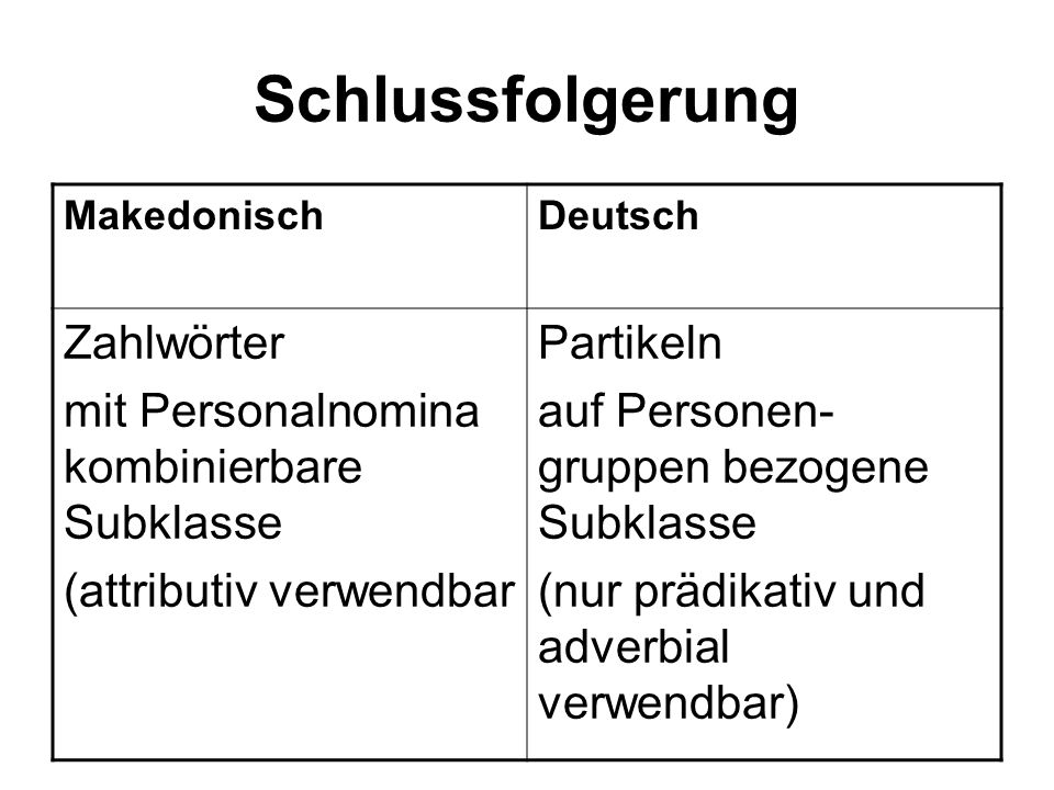 Schlussfolgerung Zahlwörter mit Personalnomina kombinierbare Subklasse