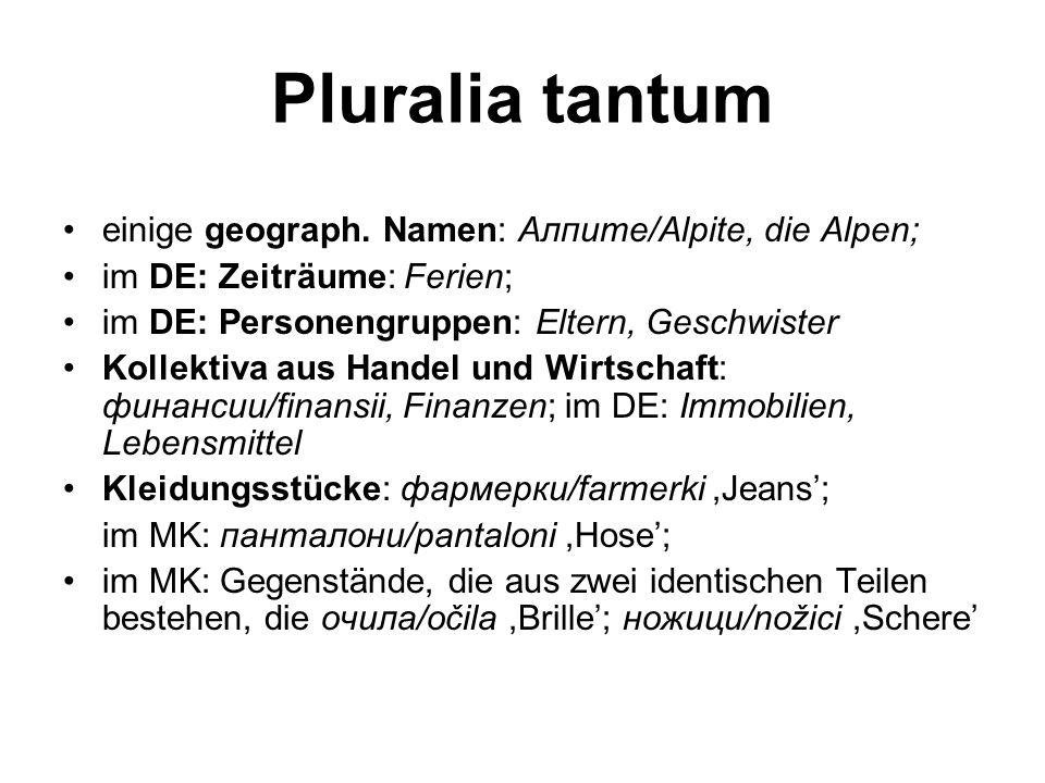 Pluralia tantum einige geograph. Namen: Алпите/Alpite, die Alpen;