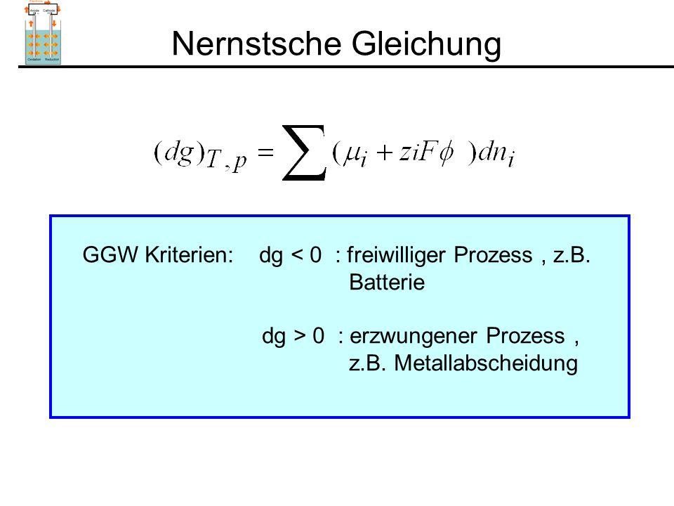 Nernstsche Gleichung GGW Kriterien: dg < 0 : freiwilliger Prozess , z.B. Batterie. dg > 0 : erzwungener Prozess ,
