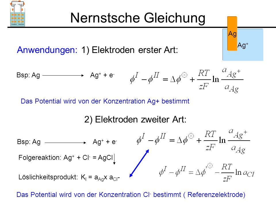 Nernstsche Gleichung Anwendungen: 1) Elektroden erster Art: