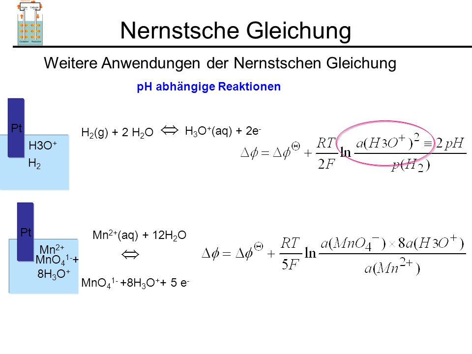 Nernstsche Gleichung Weitere Anwendungen der Nernstschen Gleichung