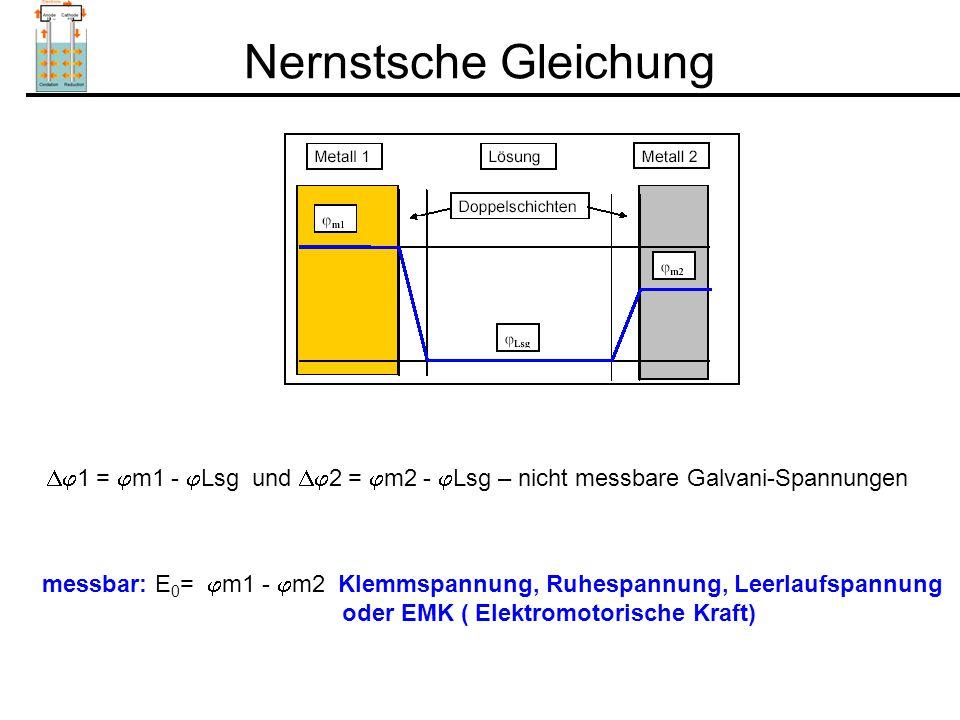 Nernstsche Gleichung 1 = m1 - Lsg und 2 = m2 - Lsg – nicht messbare Galvani-Spannungen.