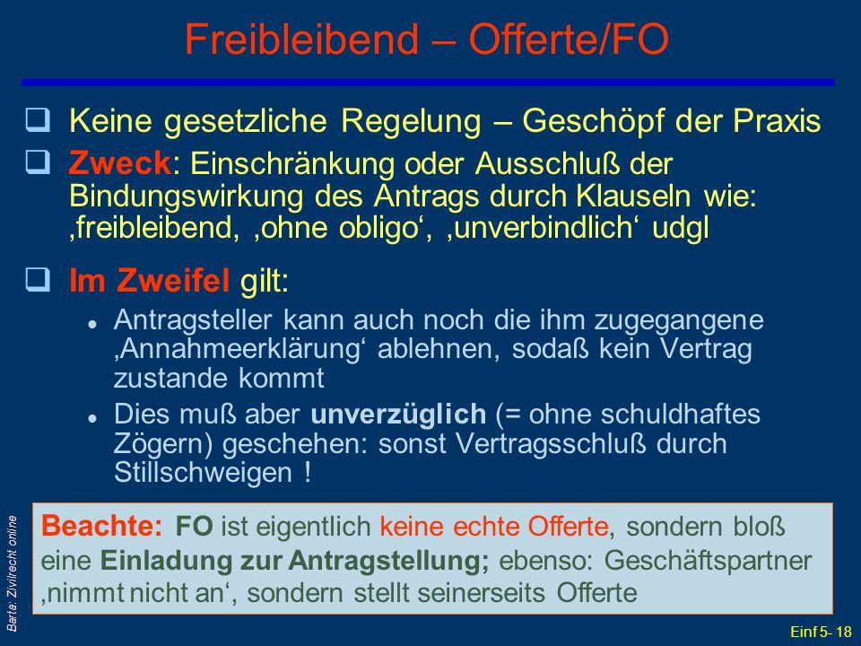 Freibleibend – Offerte/FO