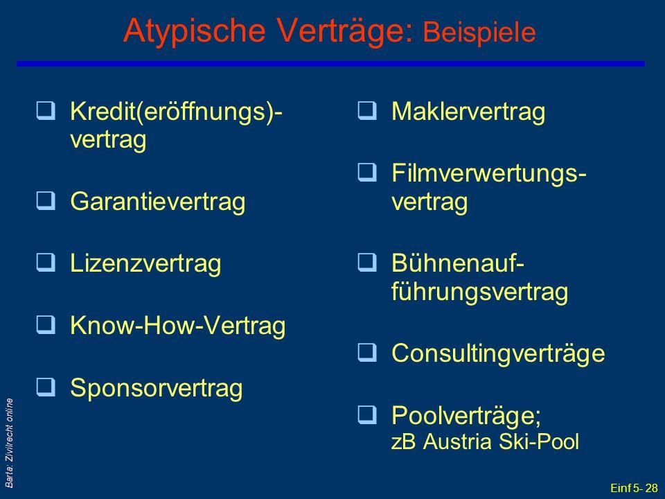 Atypische Verträge: Beispiele