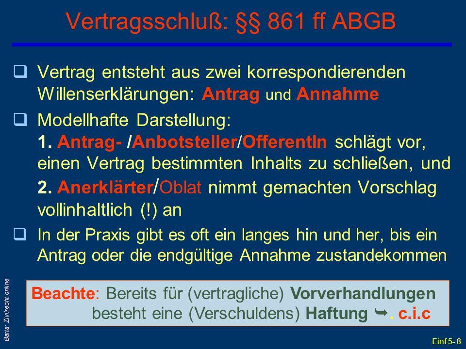Vertragsschluß: §§ 861 ff ABGB