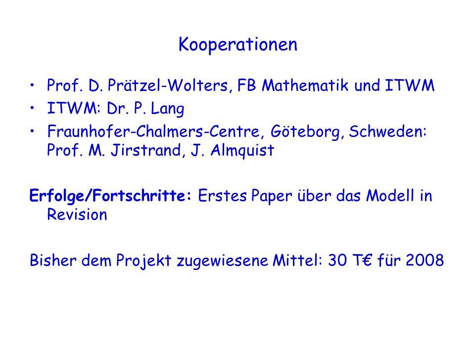 Kooperationen Prof. D. Prätzel-Wolters, FB Mathematik und ITWM