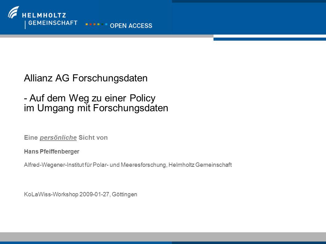 Allianz AG Forschungsdaten - Auf dem Weg zu einer Policy
