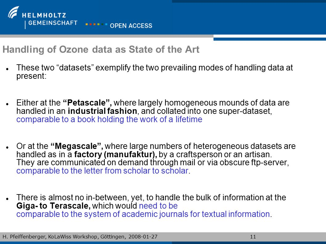 Handling of Ozone data as State of the Art