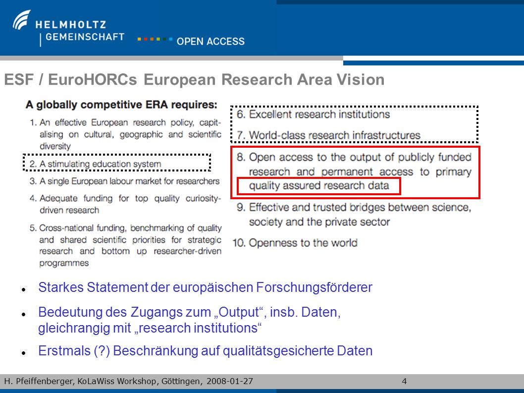 ESF / EuroHORCs European Research Area Vision