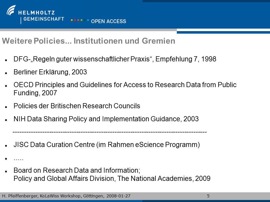 Weitere Policies... Institutionen und Gremien