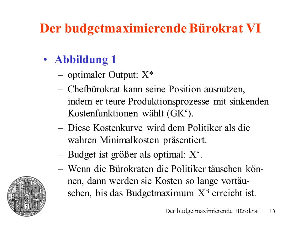 Der budgetmaximierende Bürokrat VI