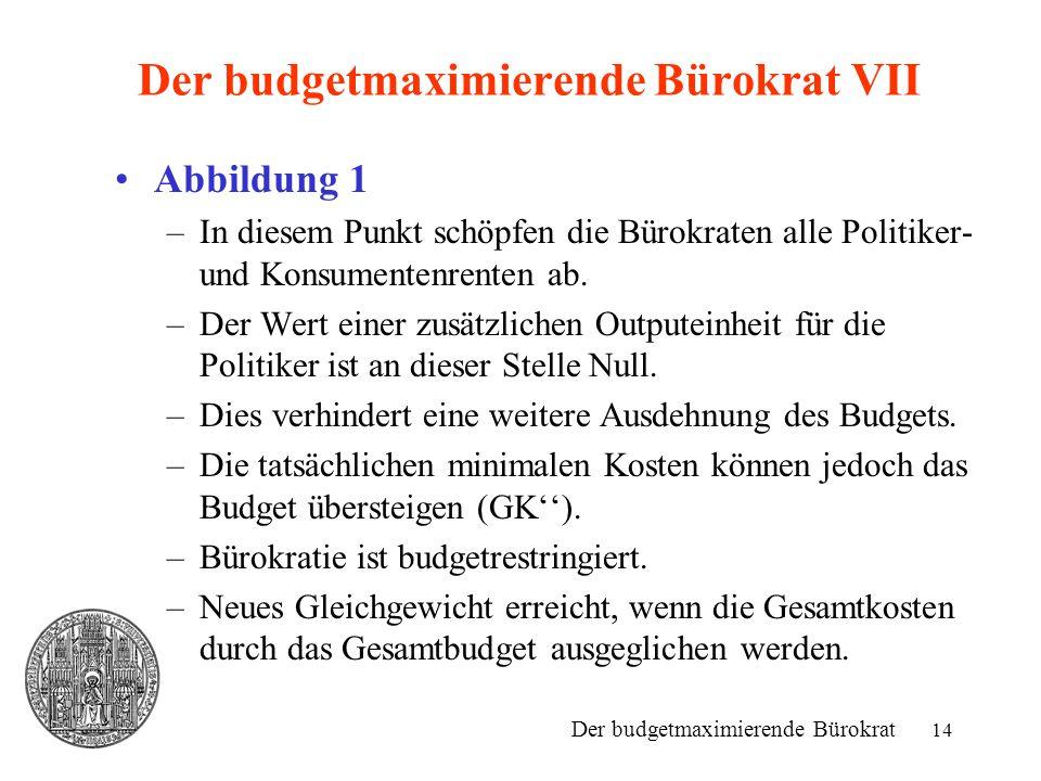 Der budgetmaximierende Bürokrat VII
