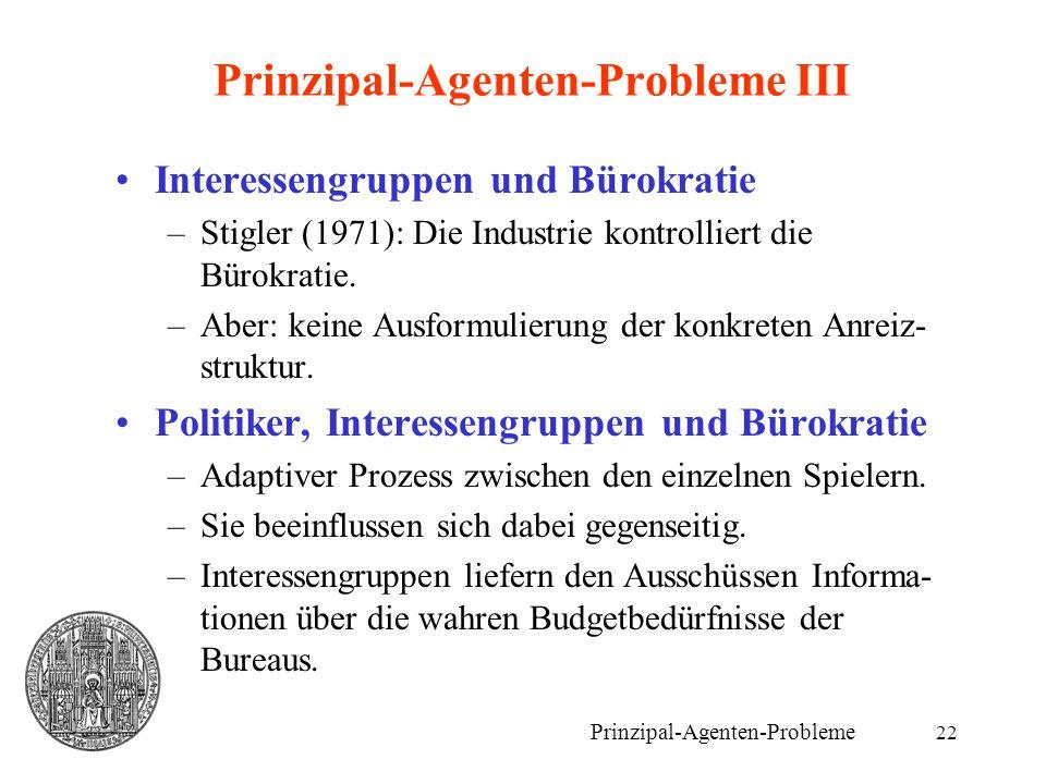 Prinzipal-Agenten-Probleme III