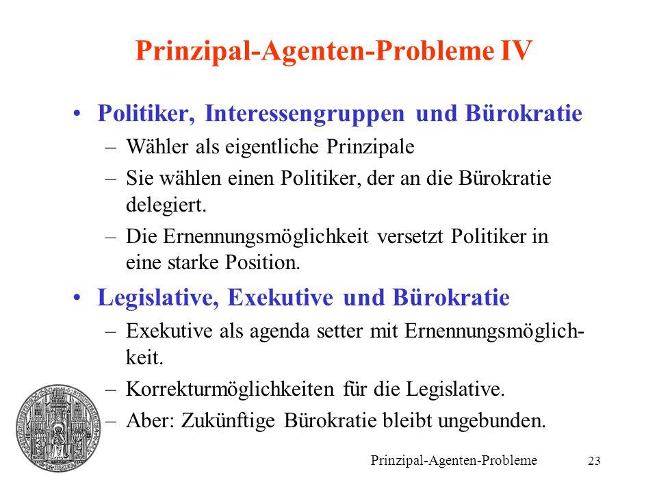 Prinzipal-Agenten-Probleme IV