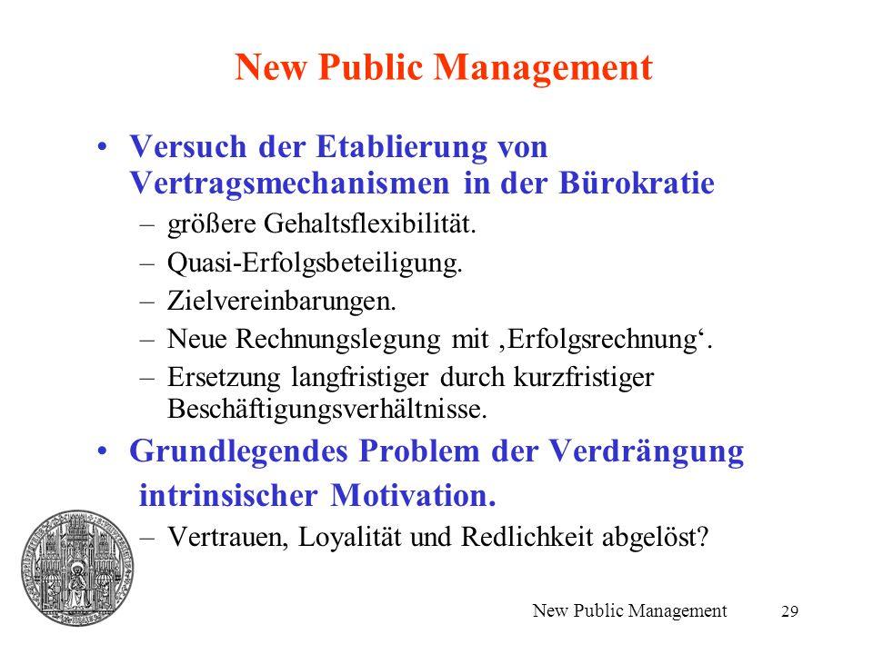 New Public Management Versuch der Etablierung von Vertragsmechanismen in der Bürokratie. größere Gehaltsflexibilität.
