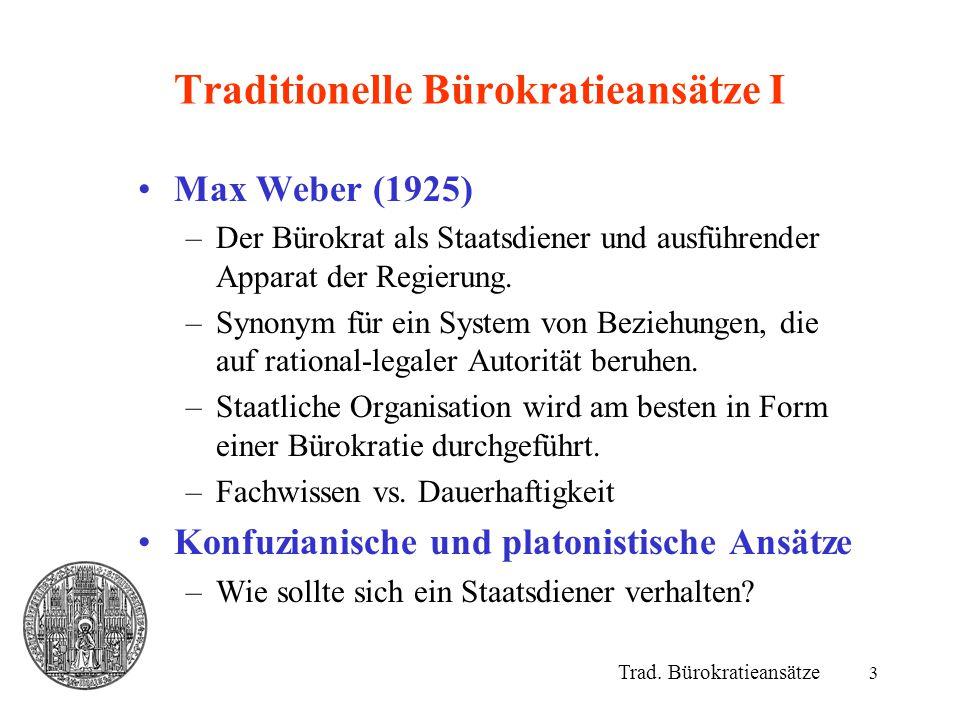 Traditionelle Bürokratieansätze I