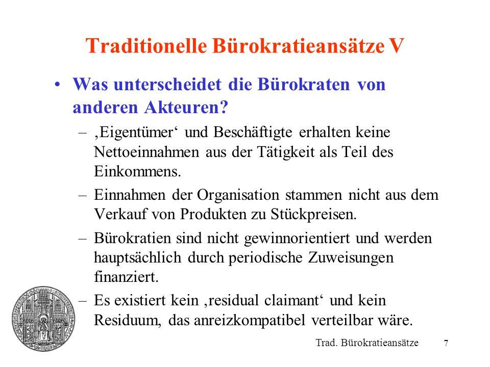 Traditionelle Bürokratieansätze V