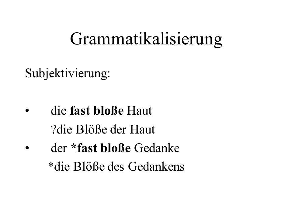 Grammatikalisierung Subjektivierung: die fast bloße Haut