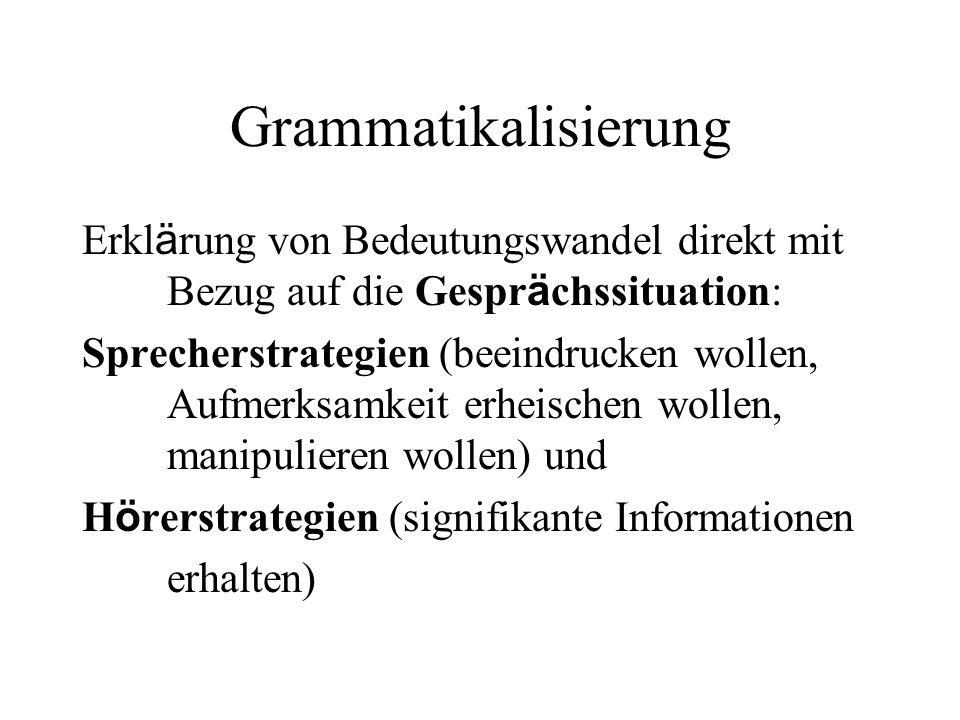 Grammatikalisierung Erklärung von Bedeutungswandel direkt mit Bezug auf die Gesprächssituation: