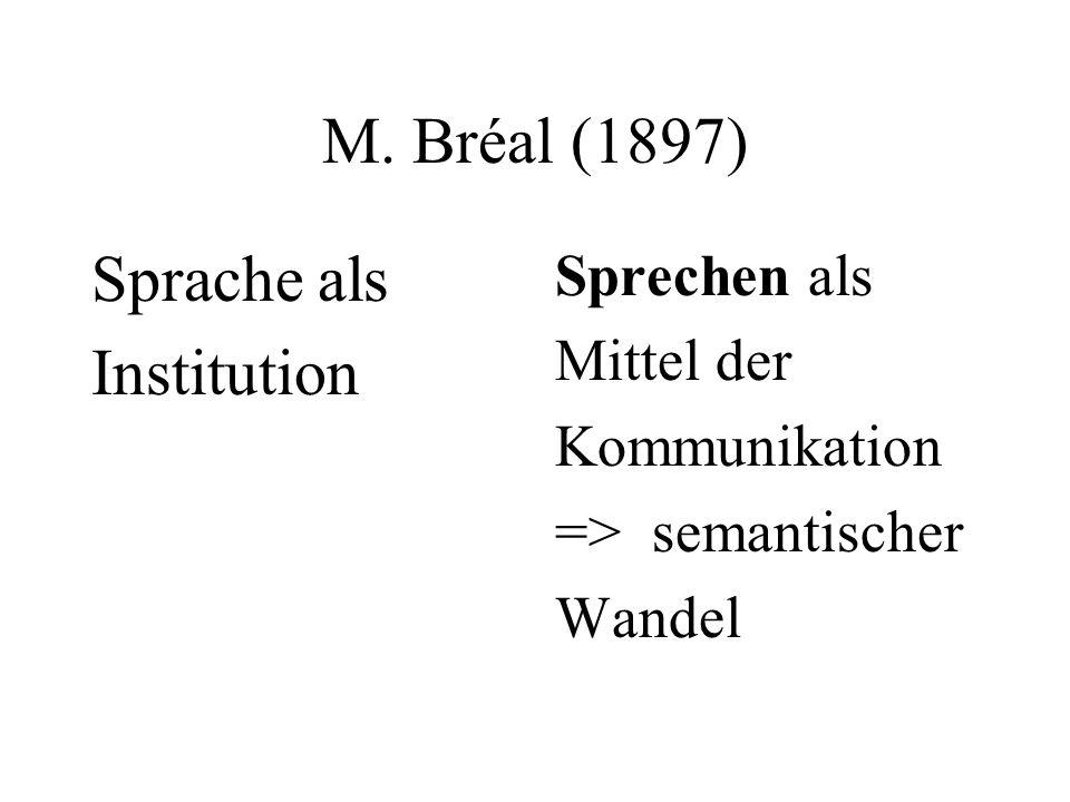 M. Bréal (1897) Sprache als Institution Sprechen als Mittel der