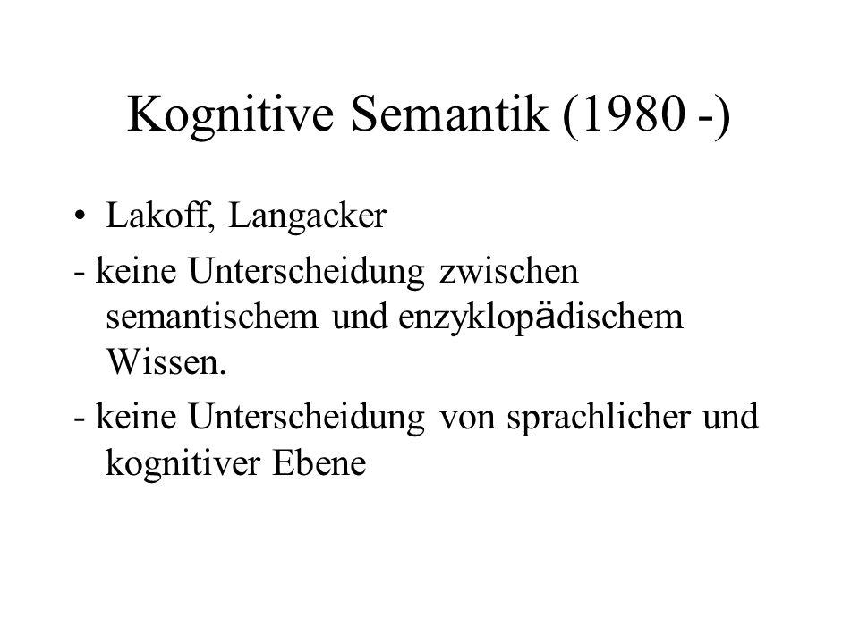 Kognitive Semantik (1980 -)