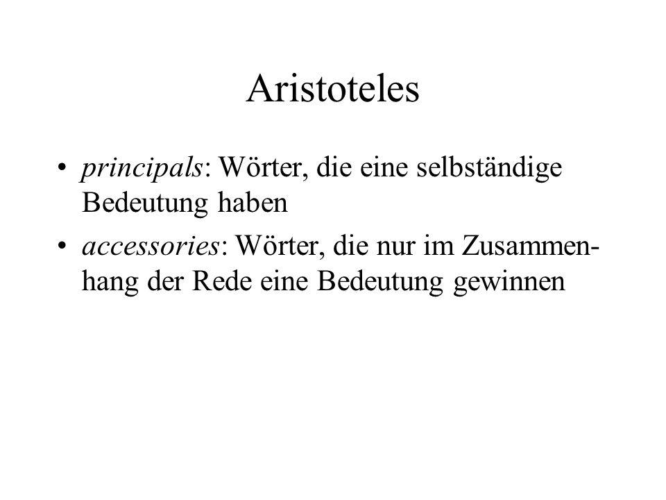 Aristoteles principals: Wörter, die eine selbständige Bedeutung haben