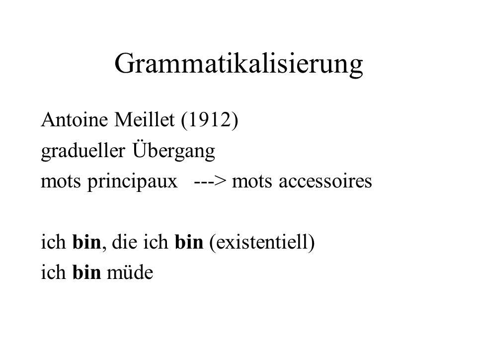 Grammatikalisierung Antoine Meillet (1912) gradueller Übergang