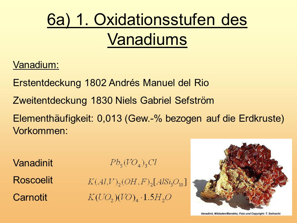 6a) 1. Oxidationsstufen des Vanadiums