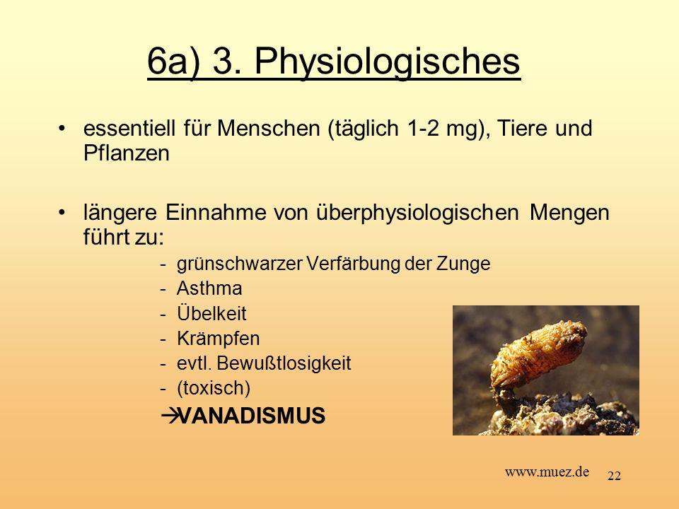 6a) 3. Physiologisches essentiell für Menschen (täglich 1-2 mg), Tiere und Pflanzen. längere Einnahme von überphysiologischen Mengen führt zu: