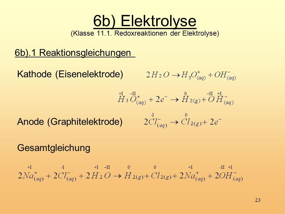6b) Elektrolyse (Klasse 11.1. Redoxreaktionen der Elektrolyse)