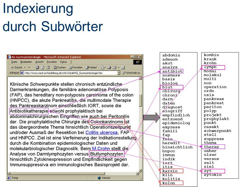 Indexierung durch Subwörter