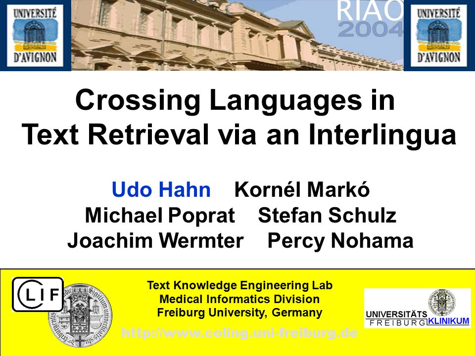 Crossing Languages in Text Retrieval via an Interlingua