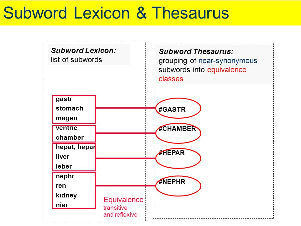 Subword Lexicon & Thesaurus