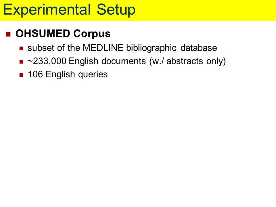 Experimental Setup OHSUMED Corpus