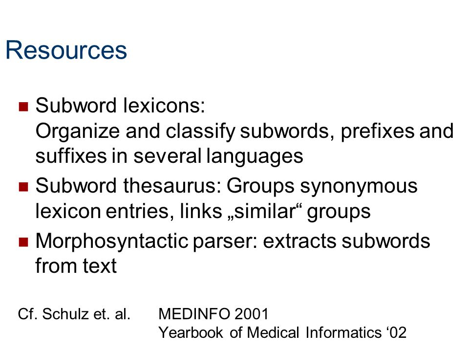 Resources Subword lexicons: Organize and classify subwords, prefixes and suffixes in several languages.