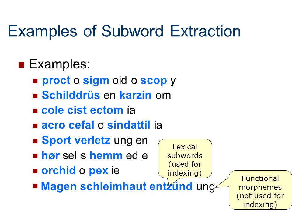 Examples of Subword Extraction