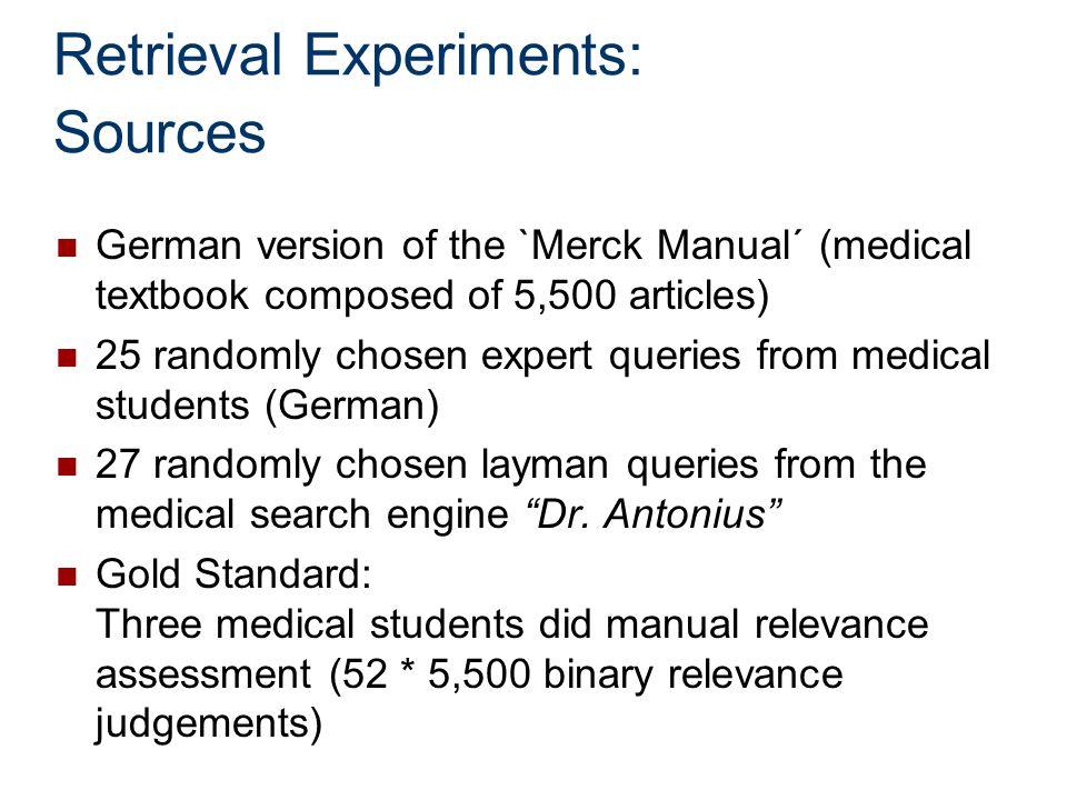 Retrieval Experiments: Sources