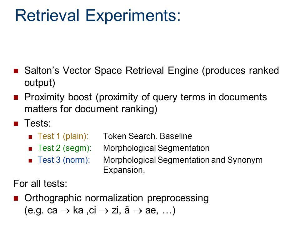 Retrieval Experiments: