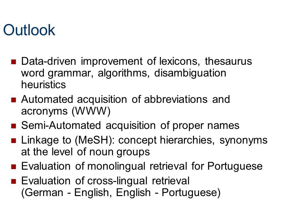 Outlook Data-driven improvement of lexicons, thesaurus word grammar, algorithms, disambiguation heuristics.