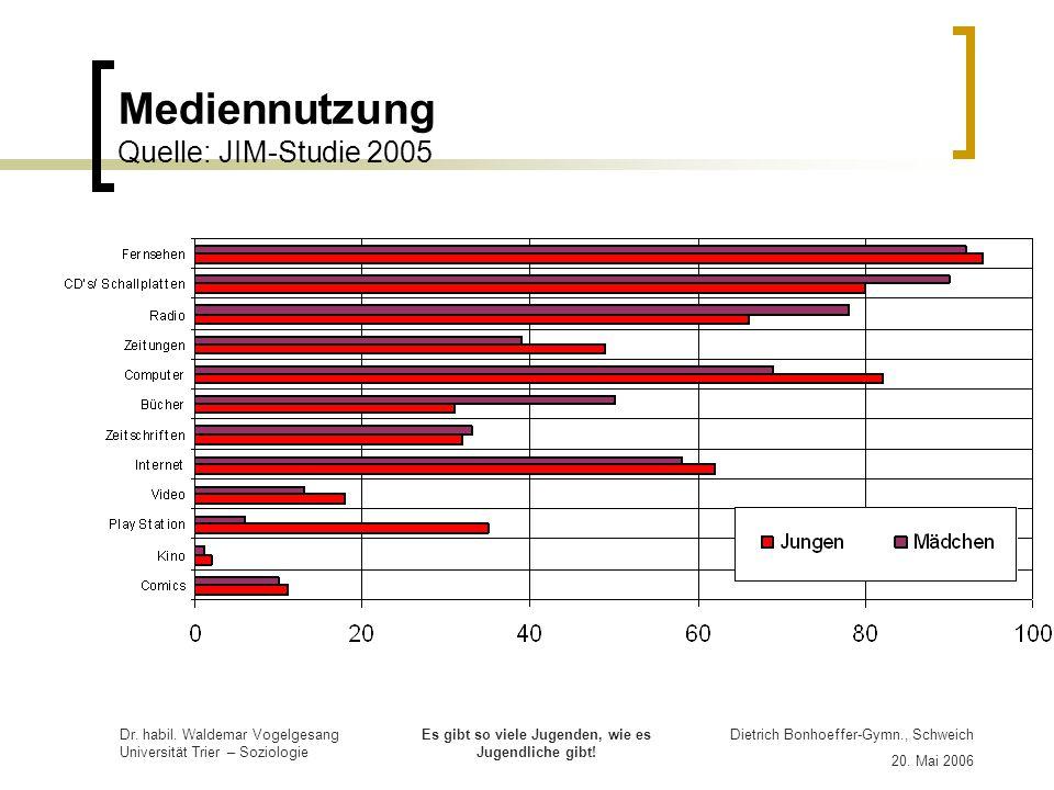 Mediennutzung Quelle: JIM-Studie 2005