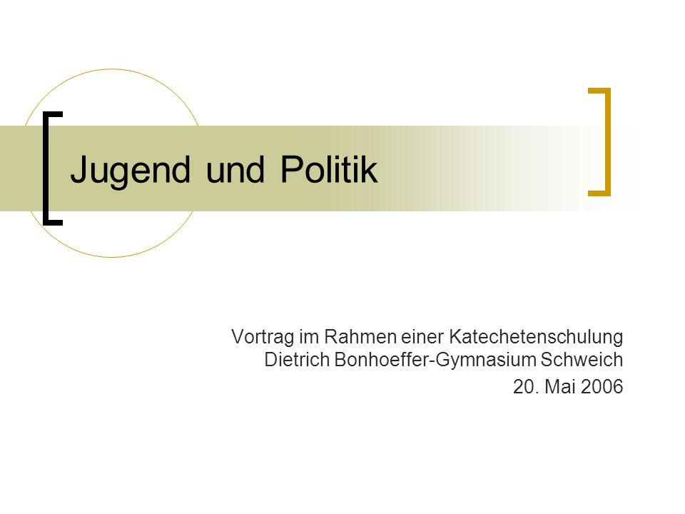Jugend und Politik Vortrag im Rahmen einer Katechetenschulung Dietrich Bonhoeffer-Gymnasium Schweich.