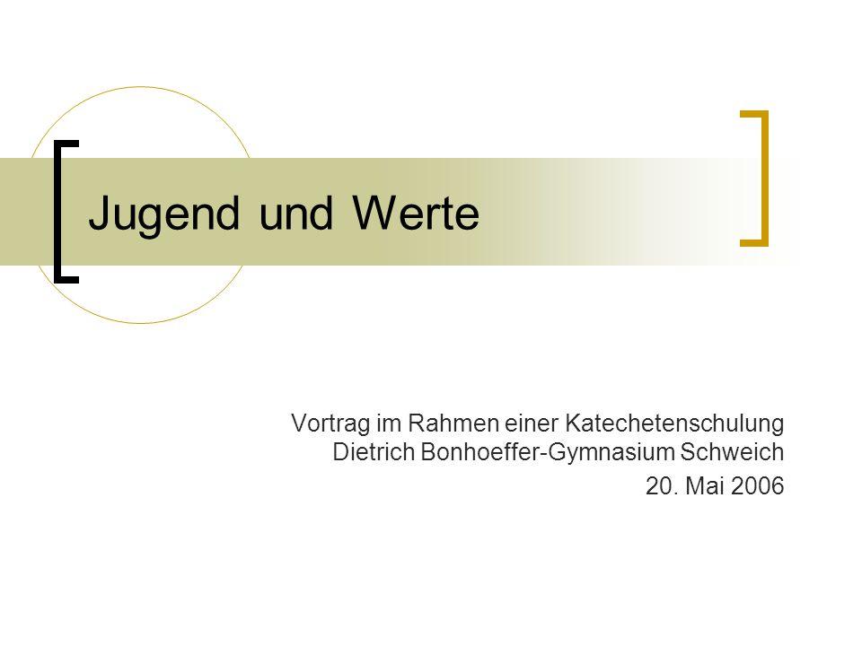 Jugend und Werte Vortrag im Rahmen einer Katechetenschulung Dietrich Bonhoeffer-Gymnasium Schweich.
