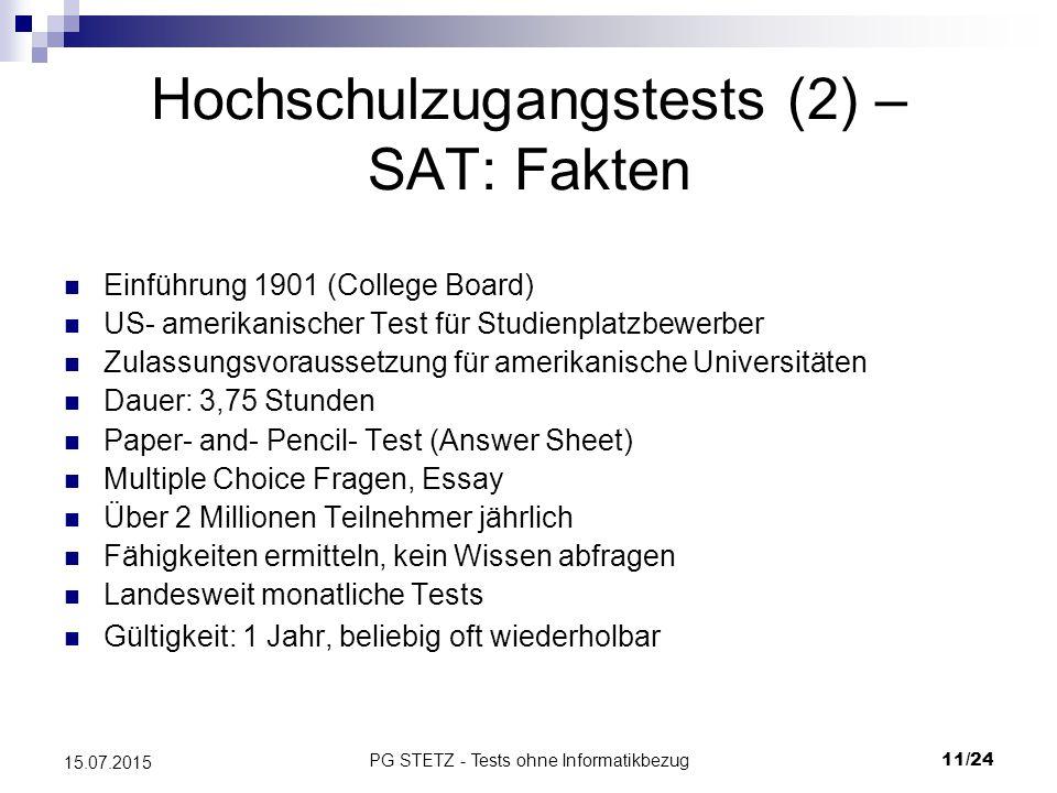 Hochschulzugangstests (2) – SAT: Fakten