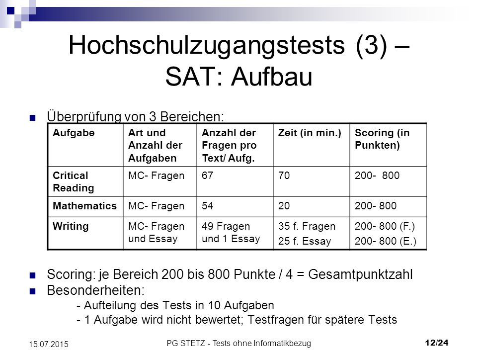 Hochschulzugangstests (3) – SAT: Aufbau