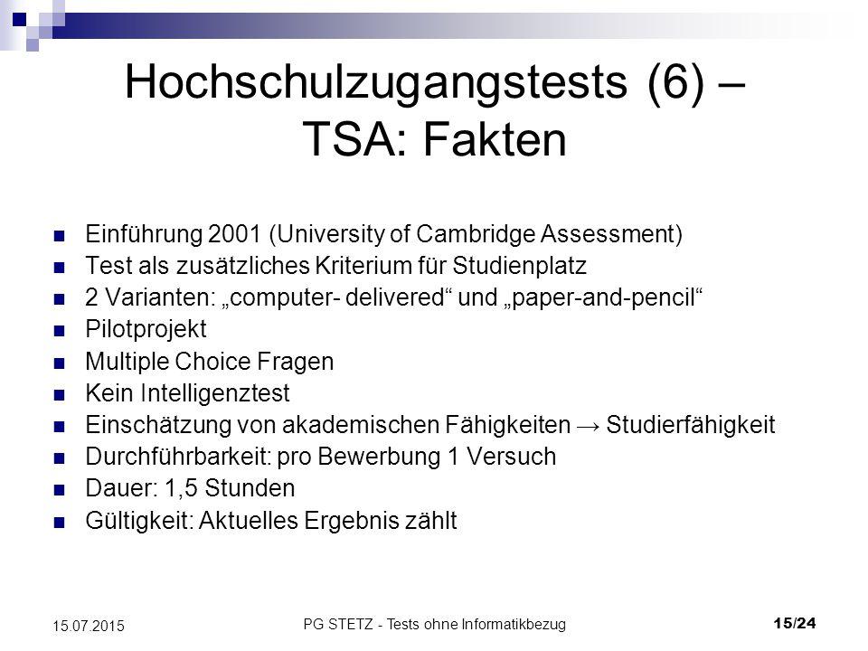 Hochschulzugangstests (6) – TSA: Fakten