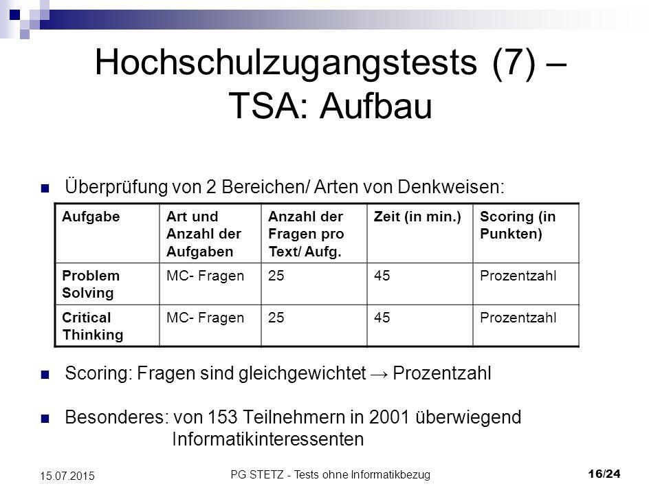 Hochschulzugangstests (7) – TSA: Aufbau