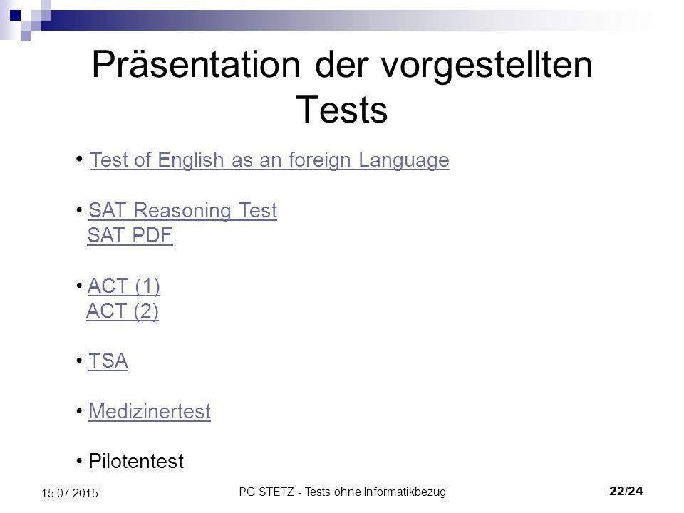 Präsentation der vorgestellten Tests